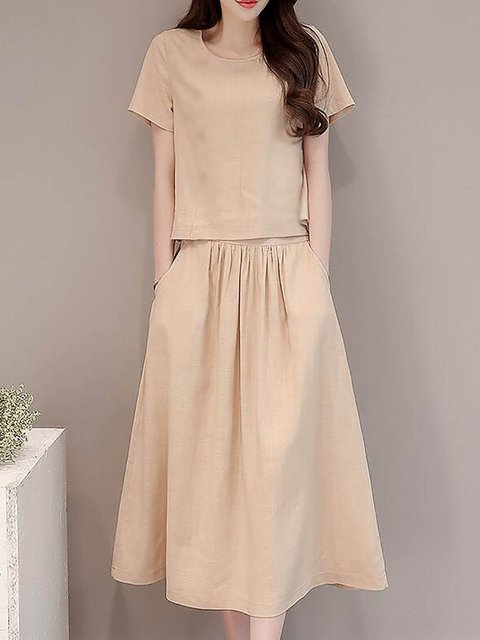 Women Daytime Short Sleeve  Solid Casual Dress