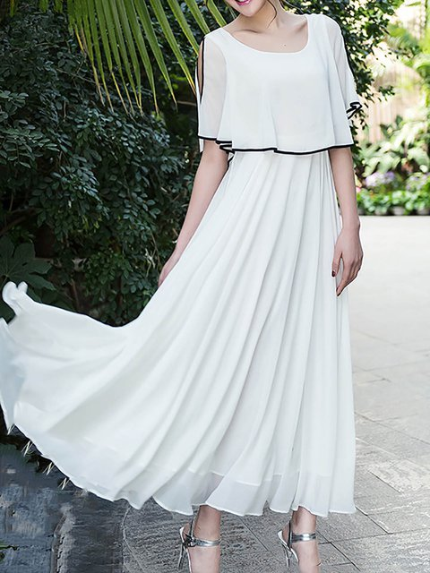 White  Women Going out Chiffon Short Sleeve Solid Elegant Dress