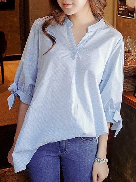 3/4 Sleeve V neck Stripes Casual Shirts
