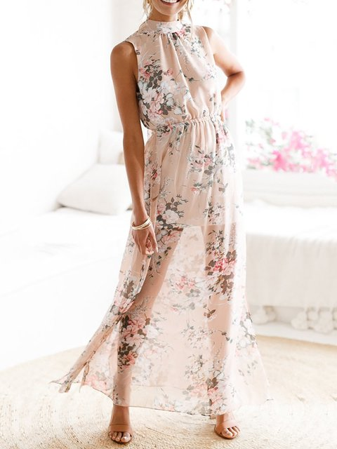Elegant Cocktail Sleeveless Floral Women Paneled Pink Dress Floral Turtleneck qtw6Rf7gx