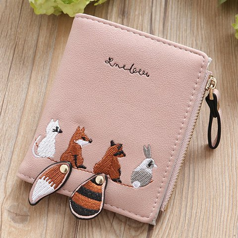 Cartoon Cute Pattern Bi-fold Small Wallet Purse Card Holder For Women