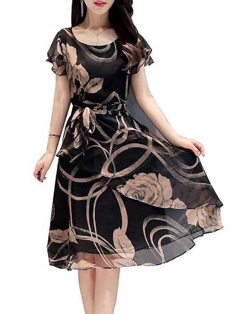 Black  Women Going out Chiffon Short Sleeve Floral Elegant Dress