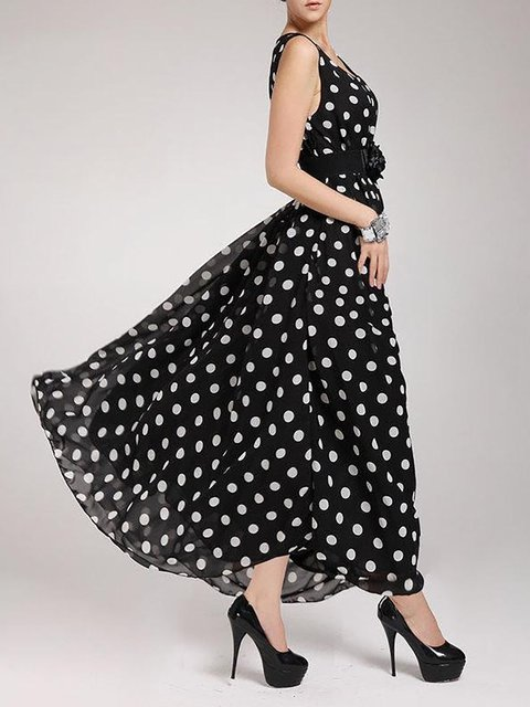 Black  Women Going out Chiffon Sleeveless Floral-print Polka Dots Prom Dress