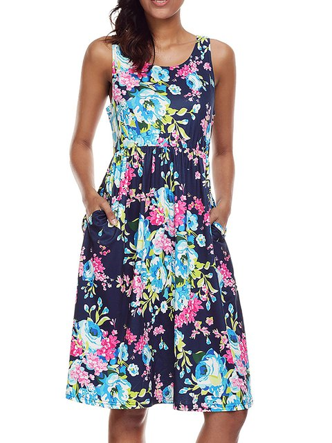 Women Cotton-blend Sleeveless Printed Floral Floral Dress