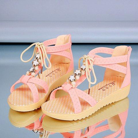 PU Flat Heel Bowknot Sandals