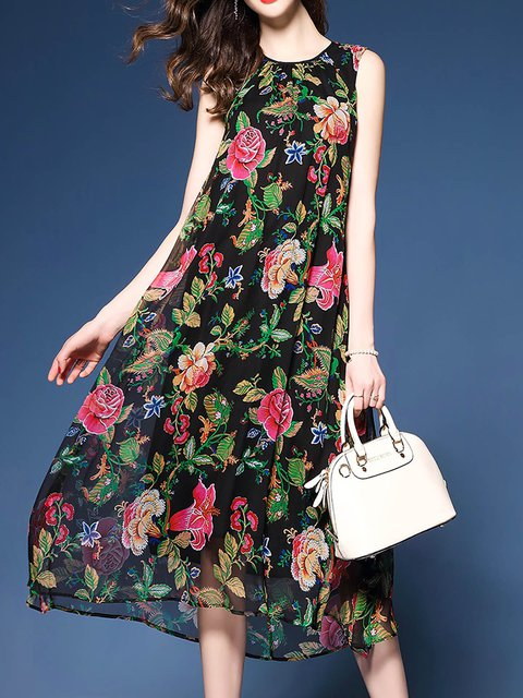 Women Sleeveless Silk-chiffon Floral Casual Dress