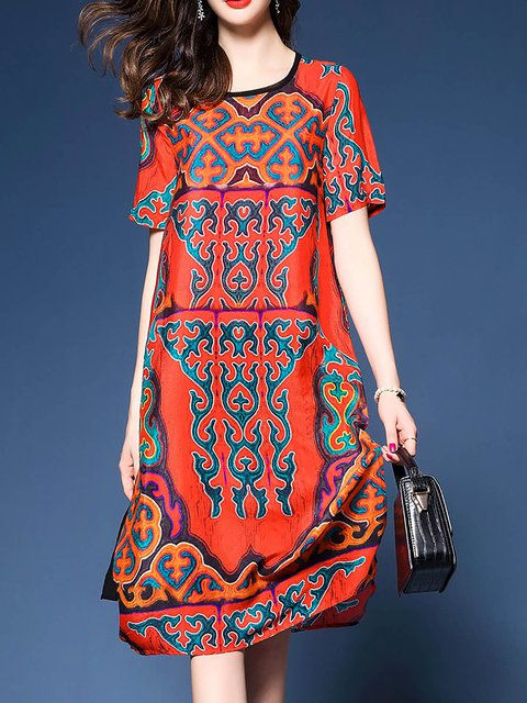 Red  Women Silk-blend Short Sleeve Printed Elegant Dress
