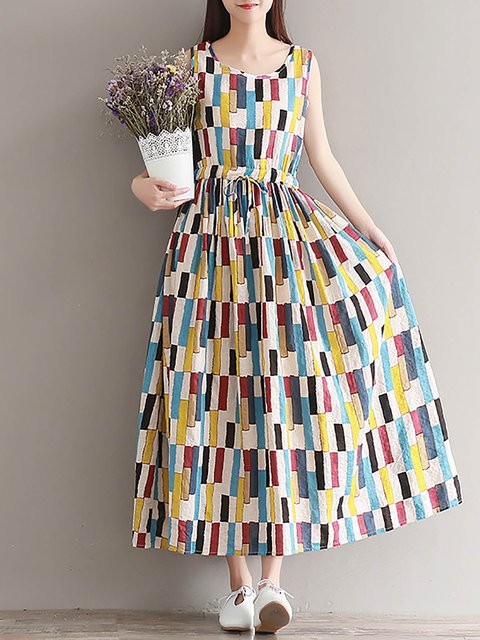 Multicolor  Women Going out Sleeveless Printed Abstract Casual Dress