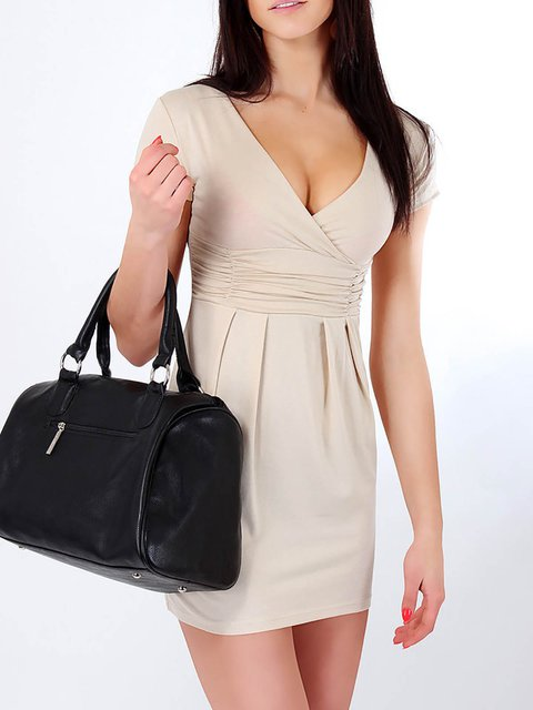 blend Summer out Women Sleeve Cotton Going Solid Dress Short wUfvqXxH