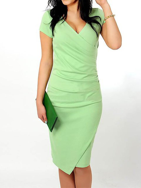 Women Cotton-blend Short Sleeve Asymmetric Solid Prom Dress