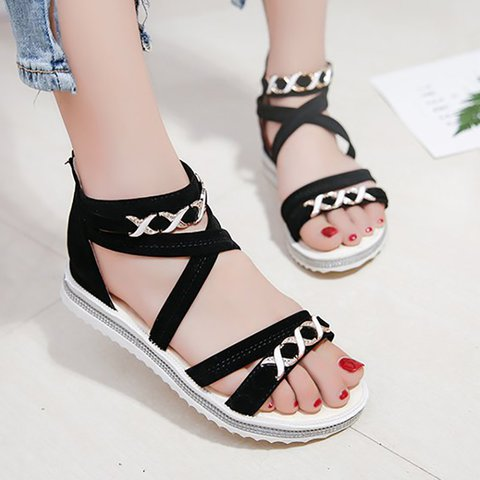 Summer Casual PU Zipper Flat Heel Sandals