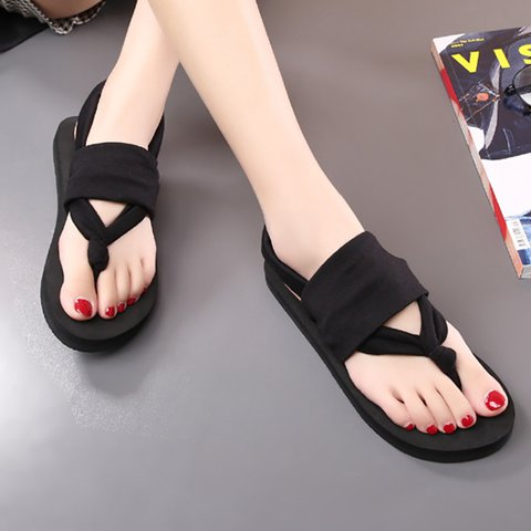Flip-flops Cloth Summer Holiday Flat Heel Sandals