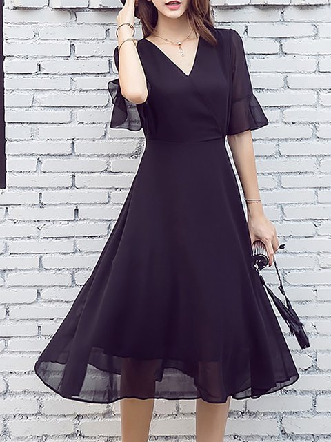 V neck Black  Women Half Sleeve Chiffon Paneled Solid Elegant Dress