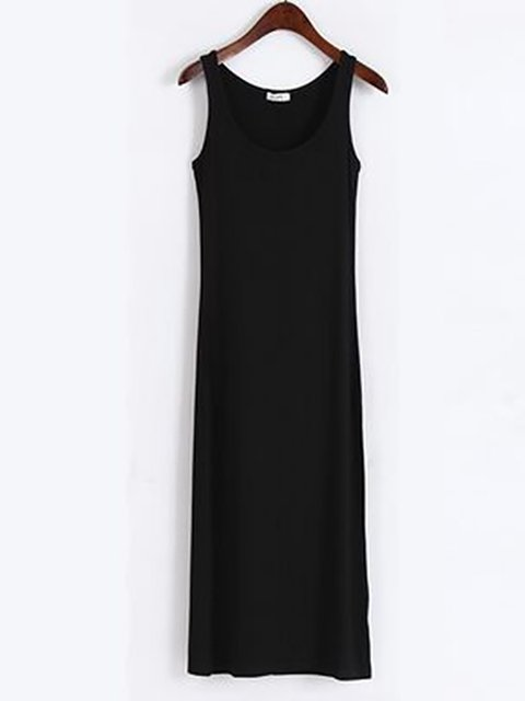 Women Sleeveless  Solid Casual Dress