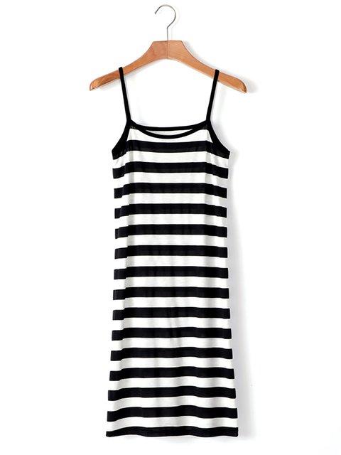 White Spaghetti Spaghetti Women Casual Stripe Dress Striped SORrSqFwd