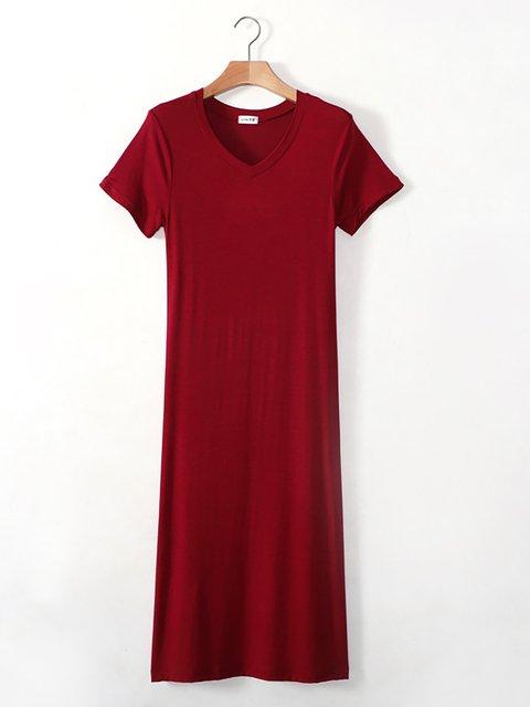 Sleeve neck V Short Dress Women Casual t0qqxfB