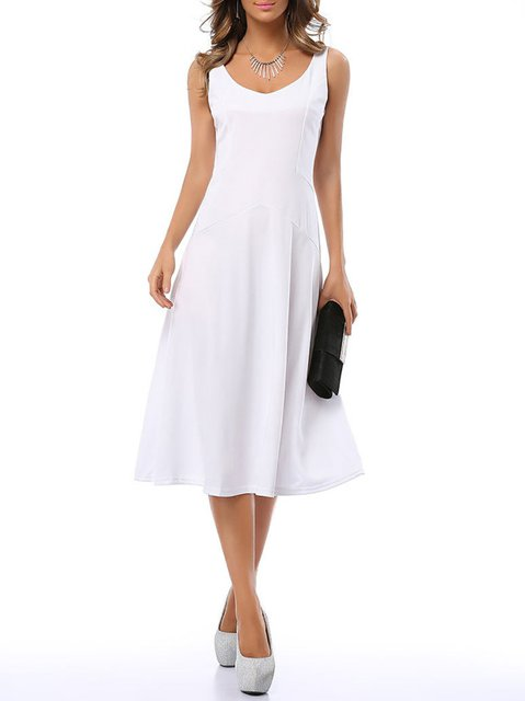 Women Going out Cotton-blend Sleeveless  Solid Summer Dress