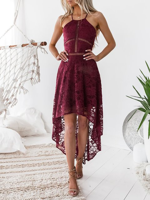 Halter   Women Party Sleeveless Elegant Paneled Plain Summer Dress