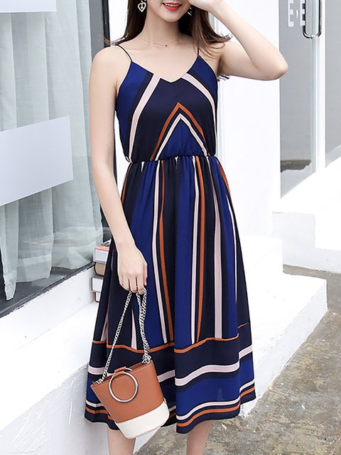 Spaghetti   Women Daily Spaghetti  Striped Casual Dress