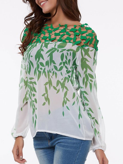 Boat Neck Hollow Out Printed Blouses