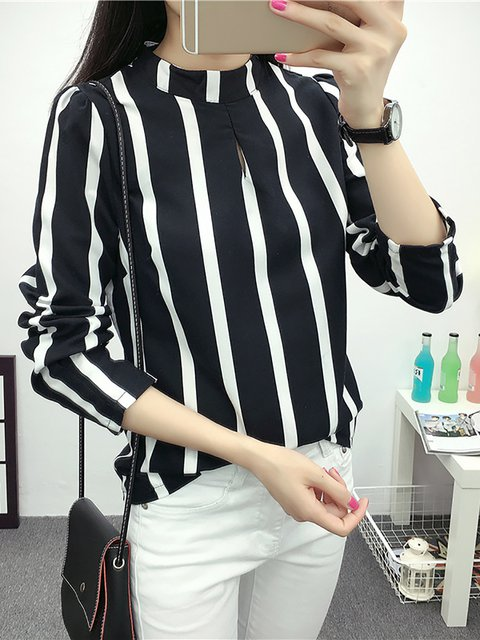 Stripes Long Sleeve Casual  Chiffon Shirts