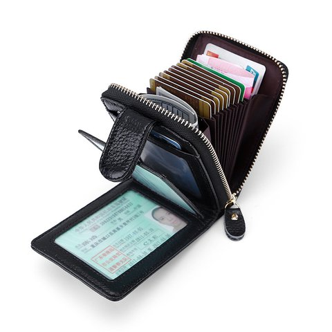 Cowhide Leather Casual Wallet Card Holder For Women Men