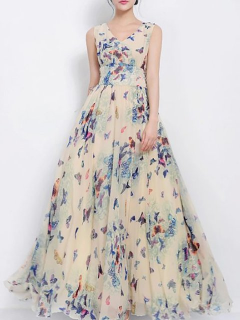 V neck  Women Party Sleeveless Elegant Floral-print Floral Prom Dress