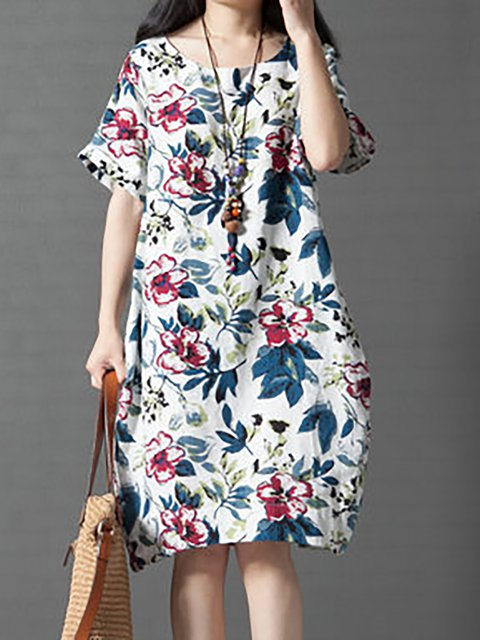 White Women Daily Short Sleeve Floral-print Floral Casual Dress