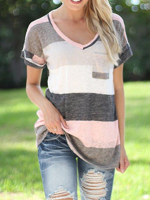 V Neck Casual Cotton-blend T-Shirt