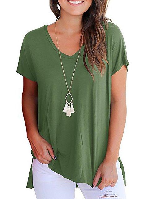 Sleeve T Casual Neck V Shirt Short 6YPpY