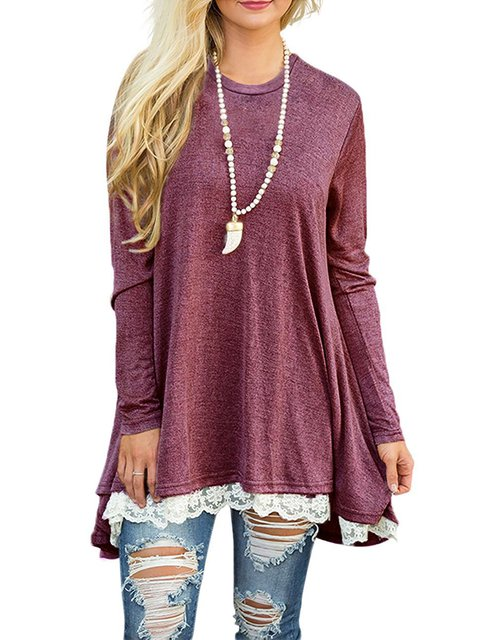 Paneled Cotton-blend Long Sleeve Casual T-Shirt