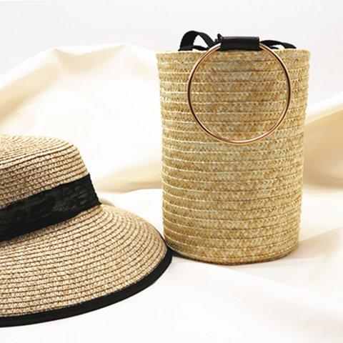 Sweet Drawstring Straw Bucket Bag Beach Tote Bag For Women