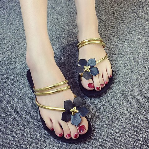 Flower PU Daily Flat Heel Slippers Sandals