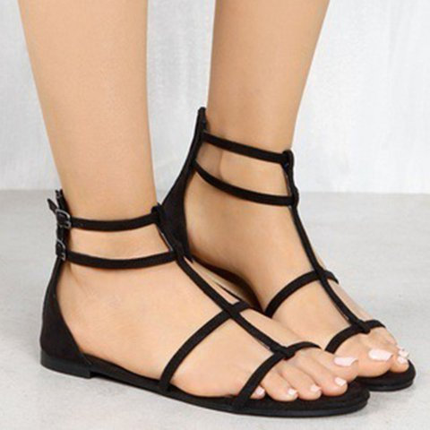 Double Buckle Artificial Leather Flat Sandals