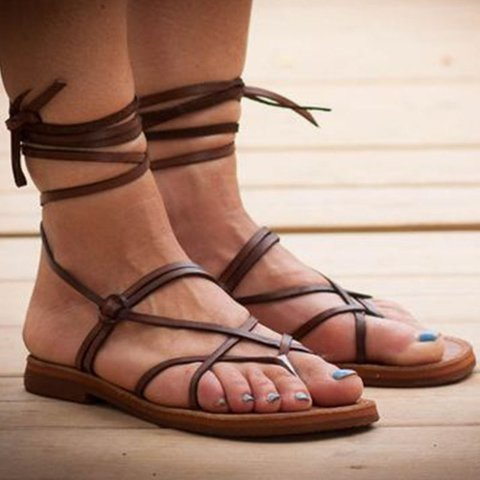 Flip-flops Lace-up Flat Sandals