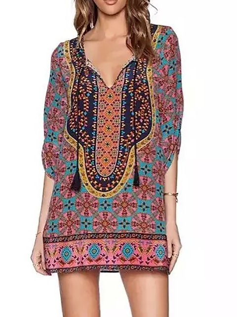 V neck Red Shift Women Holiday Boho Half Sleeve Paneled Floral Dress