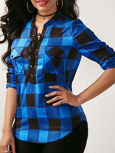 Plaid Print Lace Up Front Shirts