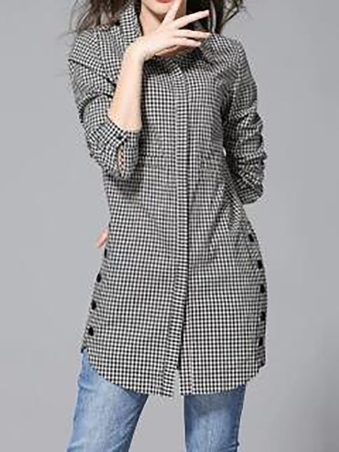 Button Up Plaid Print Turndown Collar Curved Shirt