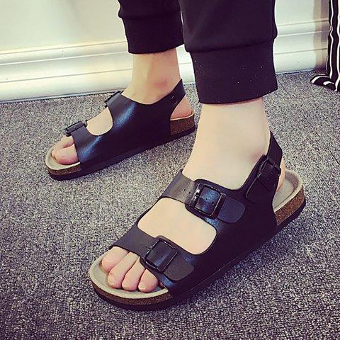 Adjustable Buckle PU Flat Heel Sandals