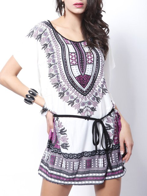 Women Holiday Cotton-blend Short Sleeve Boho Tribal Floral Dress