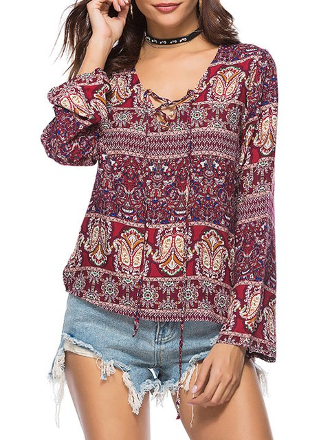 Burgundy Printed Floral Polyester Casual Blouse