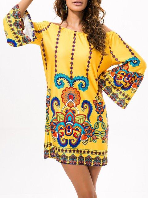 Off Shoulder   Women Holiday Silk-blend Long Sleeve Tribal Floral Dress