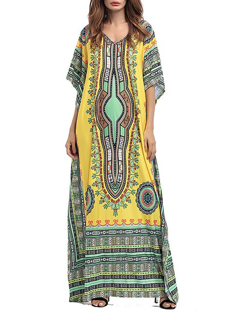 V Printed Sleeve Dress blend Floral Cotton Women Half neck Holiday Tribal rHaArSq