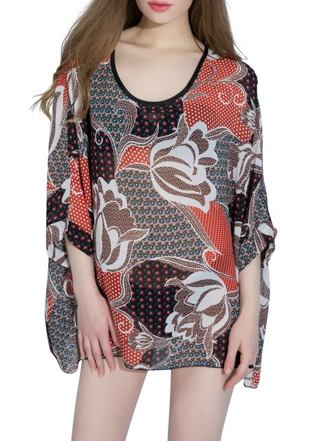 Floral Batwing Casual Crew Neck T-Shirt