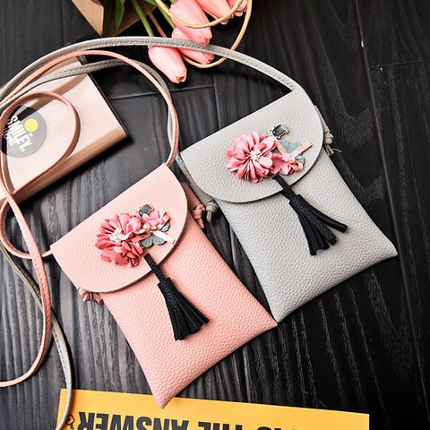 Retro Applique Flower PU Leather Phone Purse Crossbody Bag