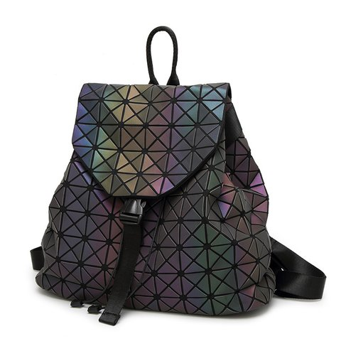 Geometric Luminous Bags Shard Lattice Eco-friendly Leather Rainbow Holographic Backpack
