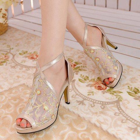 Lace Casual Zipper Stiletto Heel Peep Toe Pumps