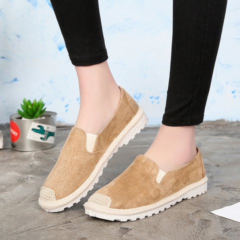 Artificial Nubuck Camel Cozy Flat Loafers