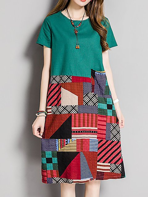 Daily Paneled Tribal Casual Dress A Short Casual line Women Sleeve PgCqSw