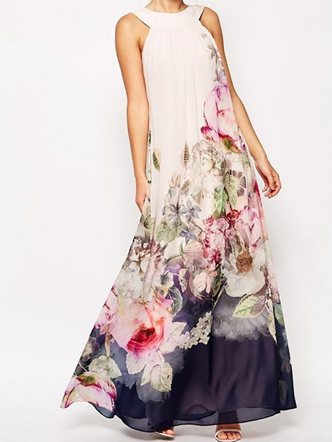 Halter Beige A-line Women Casual Sleeveless Printed Floral Floral Dress